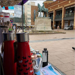 Coventry Broadgate Godiva Statue and Reyousable Stall reusable bottle