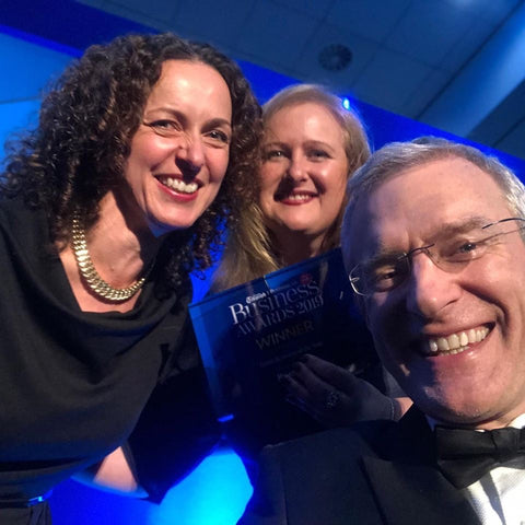 Claire and Nicola receiving award with TV Presenter Jeremy Vine