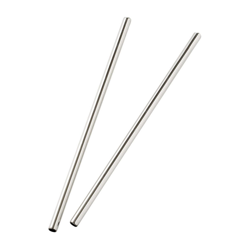 Stainless Steel Straight Reusable Drinking Straws - Pack of 2