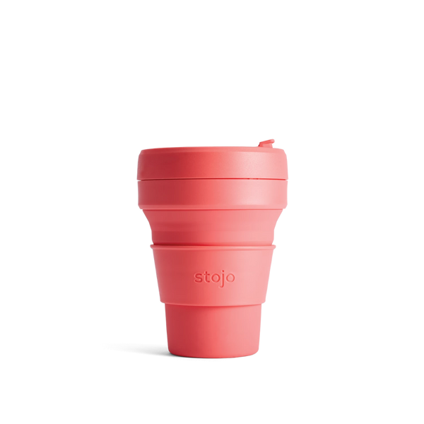 Stojo Brooklyn Pocket 12oz Cup - Coral - with FREE carry bag