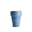 Stojo Brooklyn Pocket 12oz Collapsible Reusable Cup: Steel Blue