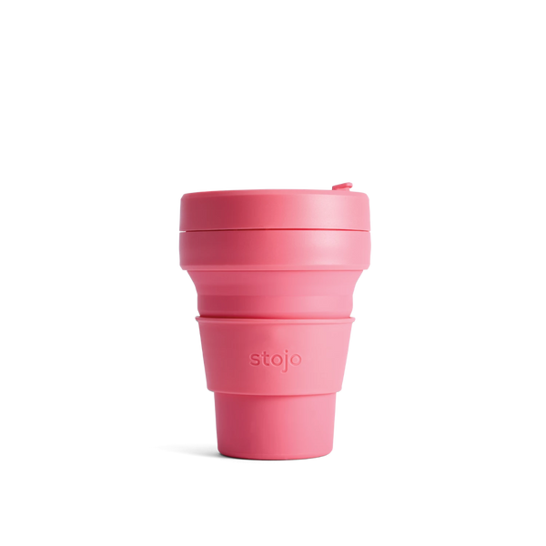 Stojo Brooklyn Pocket 12oz Collapsible Reusable Cup: Peony Pink