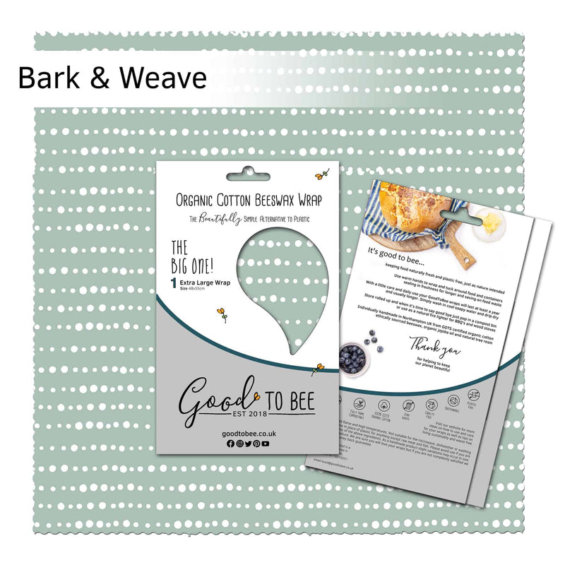 GoodToBee Reusable Beeswax Food Wrap - Extra large Bark & Weave