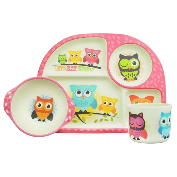 Bimbamboo Kids Reusable Bamboo 3 Piece Dining Set - Owls