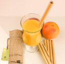 Reusable bamboo drinking straws with straw brush
