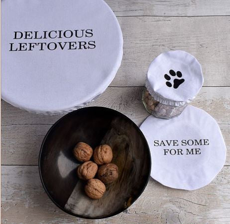 Bowl Over Reusable Cotton Bowl Covers: Set of 3 messages and image