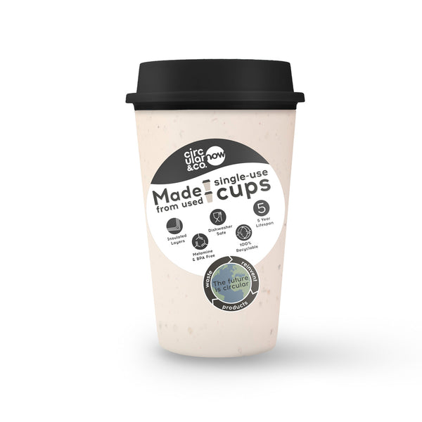 Circular Cup NOW Reusable Cup - Cream and Cosmic Black