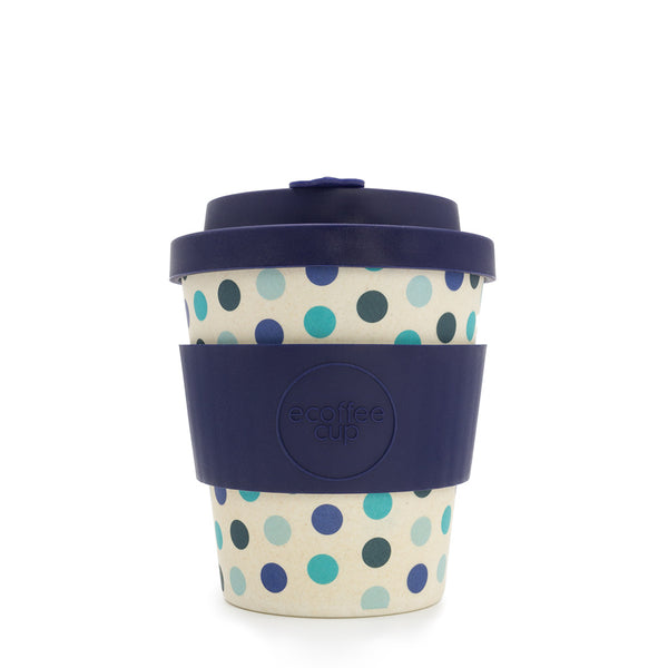 Ecoffee Reusable Cup Small Blue Polka 8oz 250ml