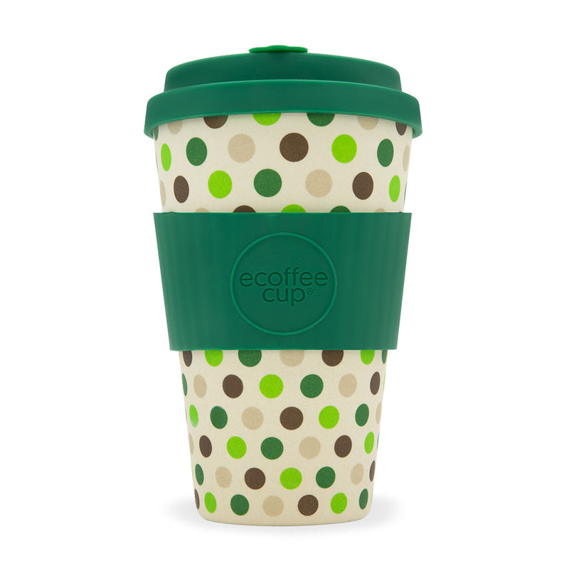 Ecoffee Reusable Cup Large Green Polka 14oz 400ml