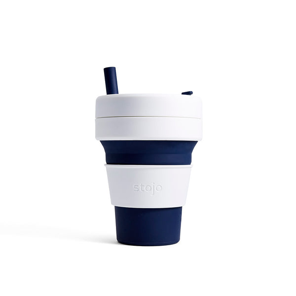 Stojo Biggie 16oz Collapsible Reusable Cup: Indigo Blue