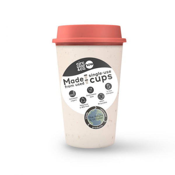 Circular Cup NOW Reusable Cup - Cream and Caught Out Coral