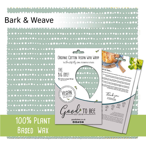 GoodToBee Reusable VEGAN Food Wrap - Extra large Bark & Weave