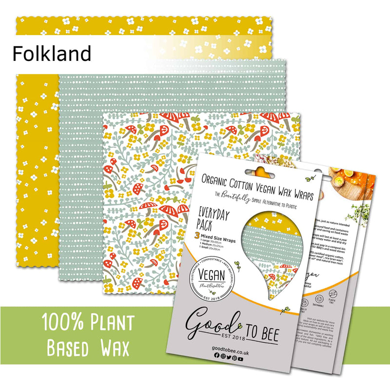 GoodToBee Reusable VEGAN Food Wraps - Everyday Pack (Set of 3) Folkland