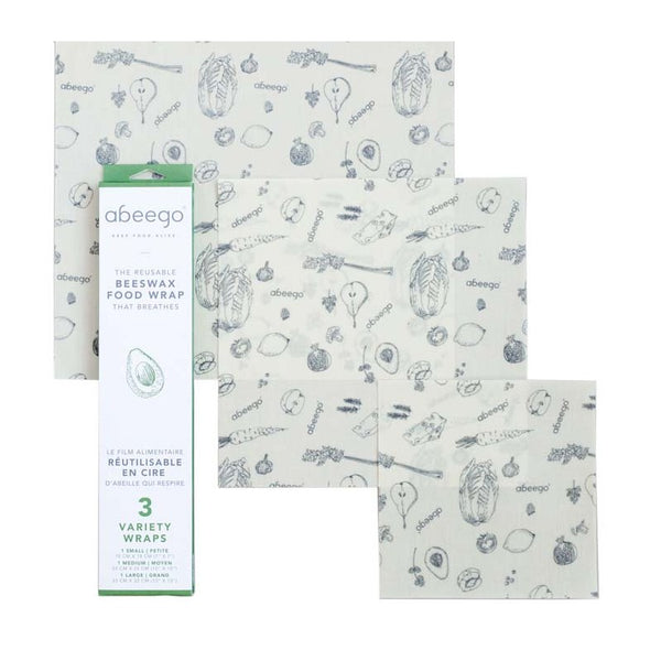 Abeego Beeswax Food Wrap - Variety Pack (1 x Sml, 1 x Med, 1 x Lrg)