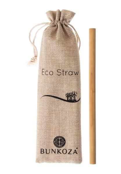 Reusable bamboo drinking straws with straw brush and pouch