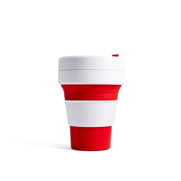 Stojo Pocket 12oz Collapsible Reusable Cup: Red