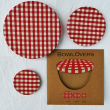 Load image into Gallery viewer, BowlOvers Cotton Bowl Covers: Red Gingham