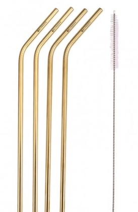 Bunkoza Gold Stainless Steel Reusable Drinking Straws - 6mm with bend, brush and pouch
