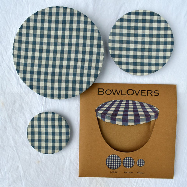 Bowl Over Reusable Cotton Bowl Covers: Blue Gingham