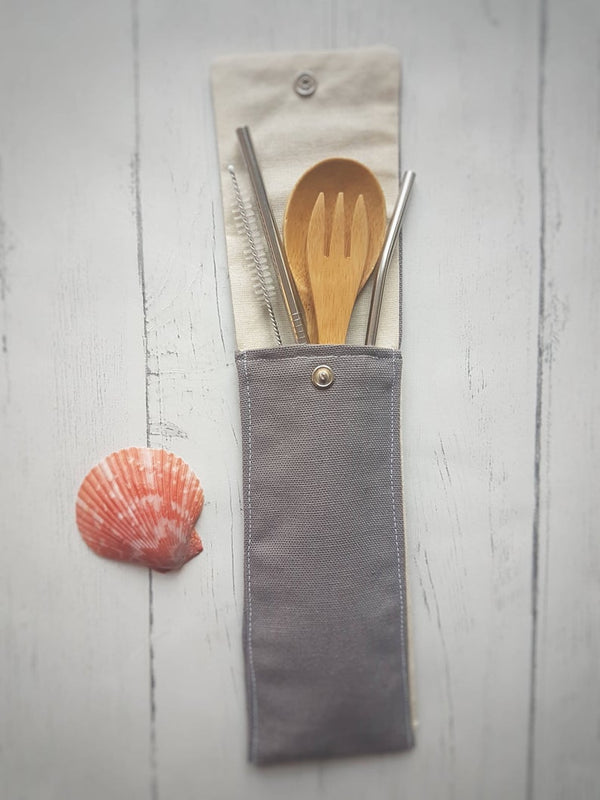 Cutlery Pouch - Plain Grey