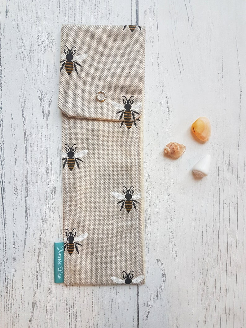 Reusable Cutlery Pouch - Bees