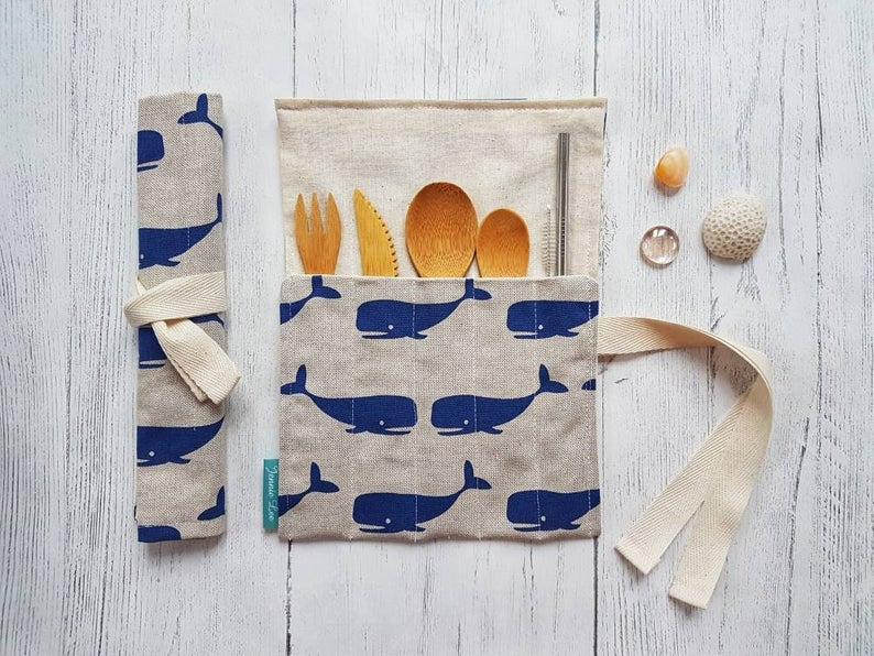 Reusable Cutlery Wrap - Blue Whales