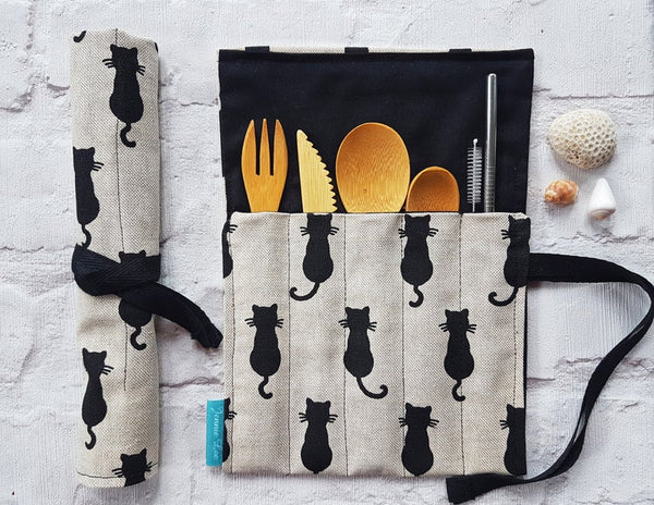 Reusable Cutlery Wrap - Black Cats