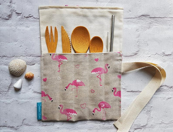 Reusable Cutlery Wrap - Flamingos