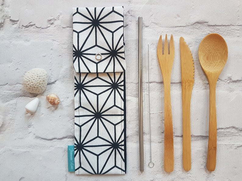 Reusable Cutlery Pouch - Black & White Geometric