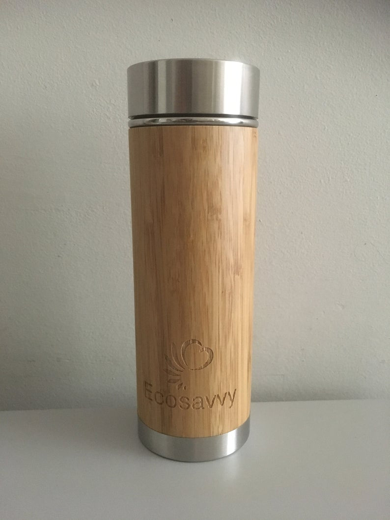 Eco Savvy Bamboo Reusable Hybrid Bottle/Mug with Infuser