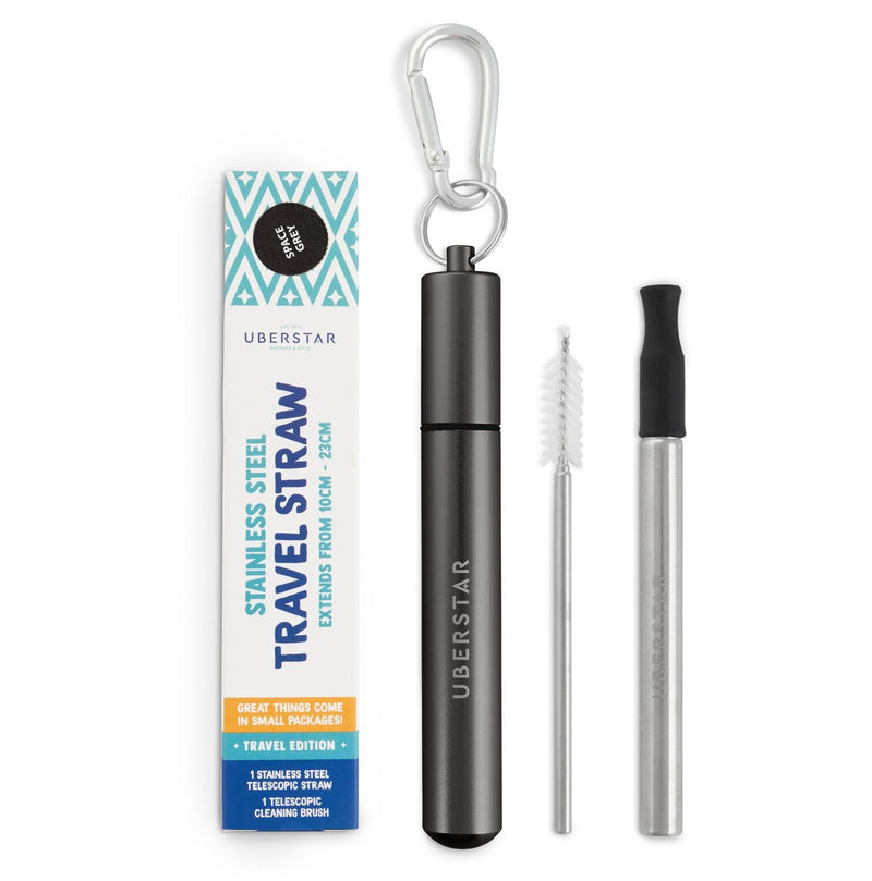 Uberstar Collapsible Reusable Travel Straw - Space Grey case