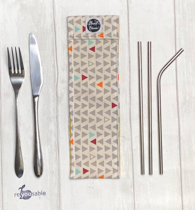 Planet Picnic Straw/Cutlery Bag: Scandi Triangles