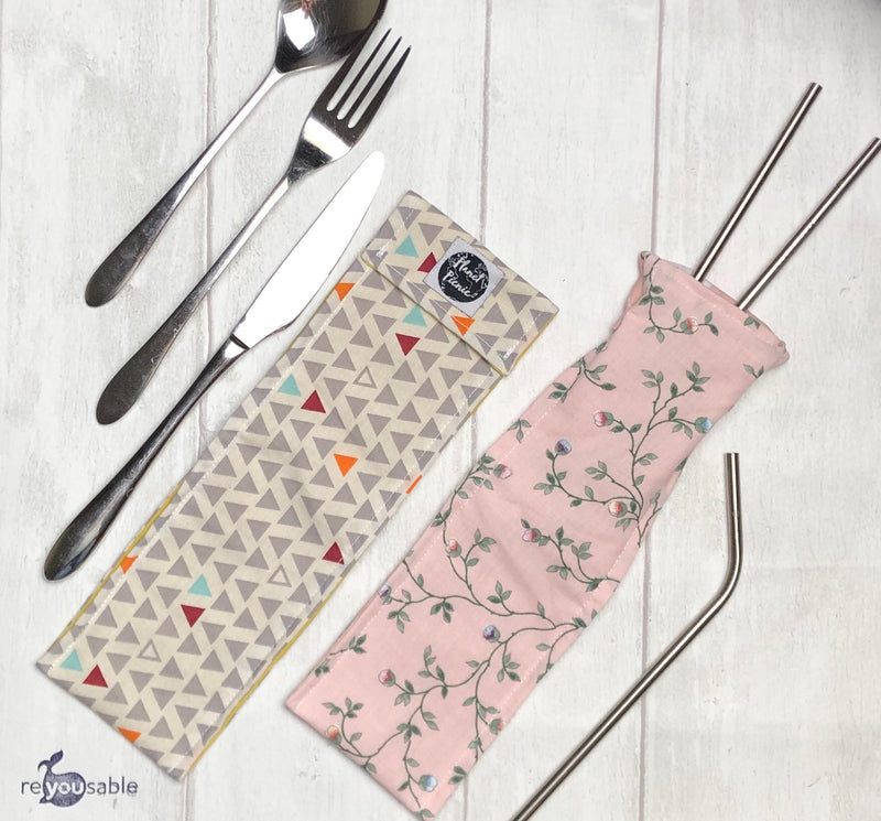 Planet Picnic Reusable Straw/Cutlery Bag: Scandi Triangles