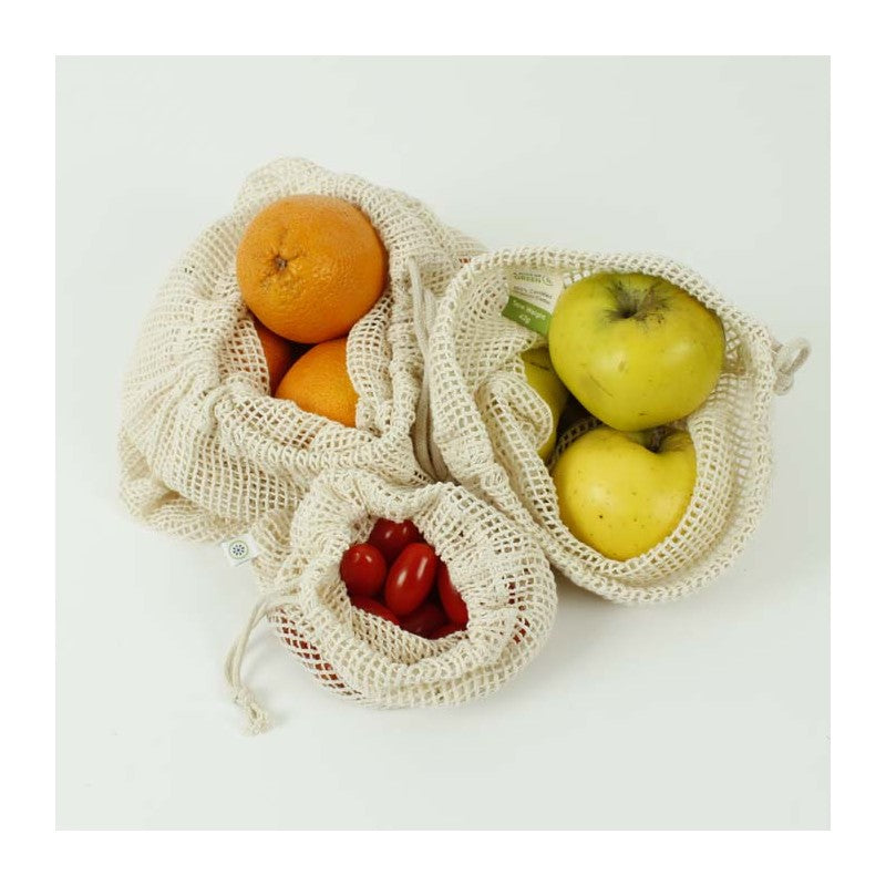 Organic Cotton Mesh Produce Bags - 3 pack