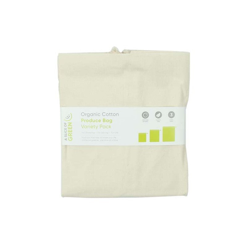 A Slice of Green organic cotton produce Bags - Variety pack set of 3
