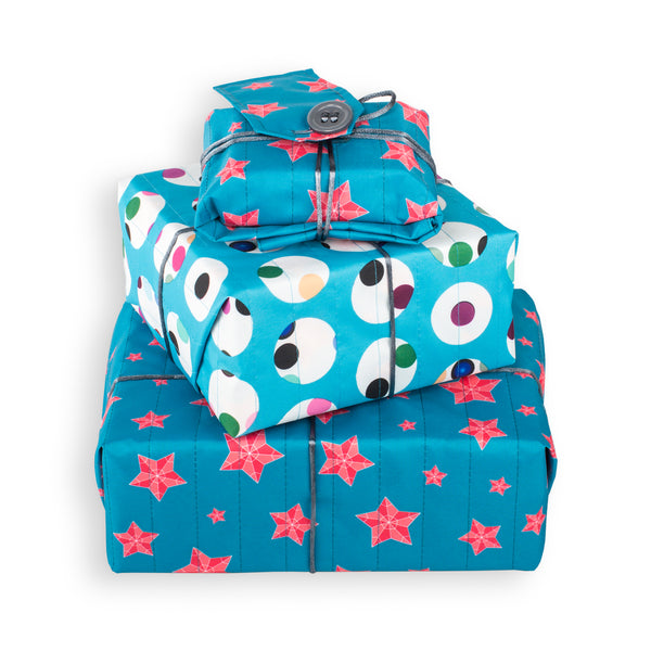 Wrag Wrap Reusable Reversible Crackle Wrap: Spots & Stars