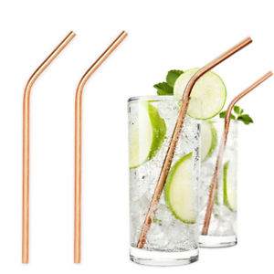 Gold Stainless Steel Drinking Straws with bend