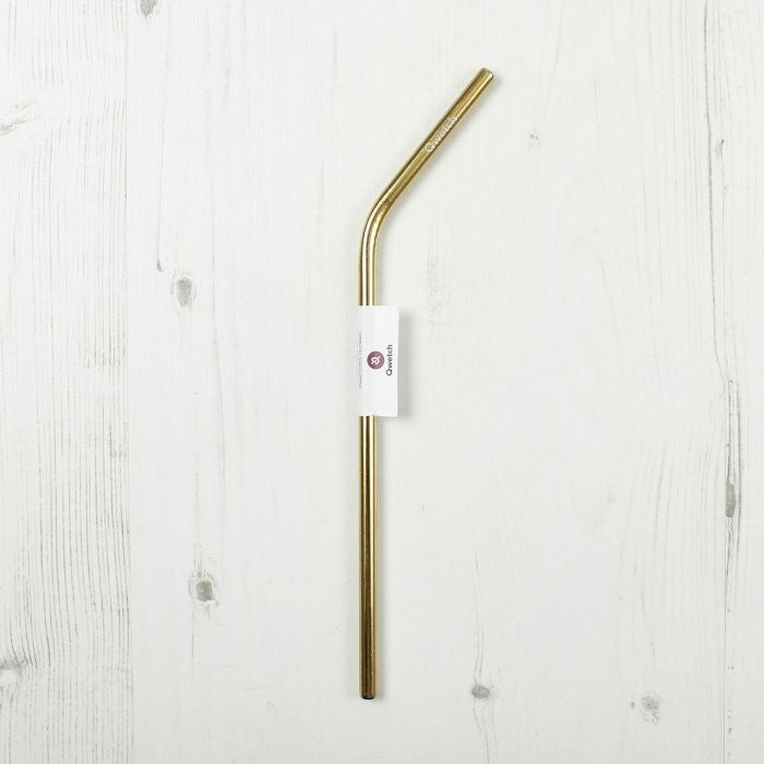 Qwetch Gold Stainless Steel Reusable Drinking Straw with bend