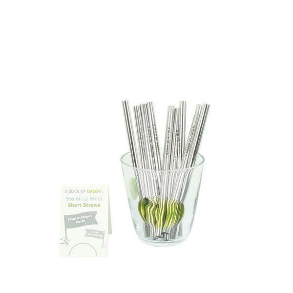 Brushed Stainless Steel Short Drinking Straw
