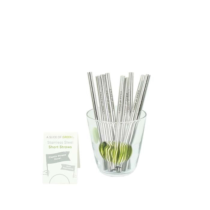 Brushed Stainless Steel Short Reusable Metal Drinking Straw