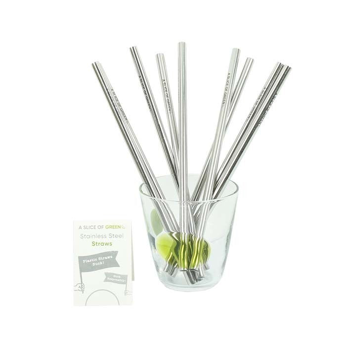 Brushed Stainless Steel Straight Drinking Straw