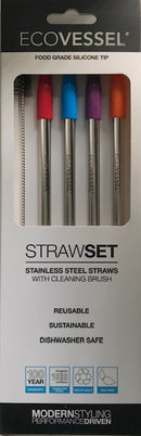 Eco Vessel Stainless Steel Straight Drinking Straws with Silicone Tips
