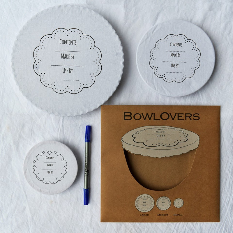 Bowl Over Reusable Cotton Bowl Covers: Write on wash out BLUE PEN