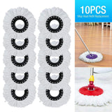 Staulino 10Pcs 360° Spinning Heads Microfiber Rotating Mop Head For Easy Magic Floor Mop