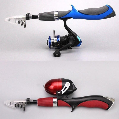 Telescopic Fishing Rod With Reel Combo Red Blue
