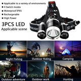 LED Headlamp Rechargeable 15000LM Zoomable Ultra Bright