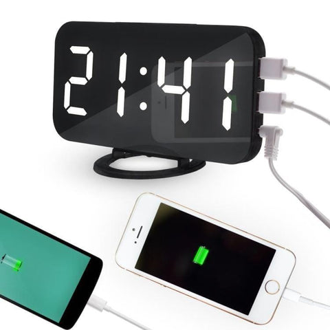 "LED Digital Alarm Charging Station 6.2"" USB Mirror Home Office"