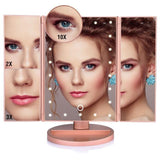 Staulino Makeup Mirrors Rose Gold Magnifying LED Folding Makeup Mirror