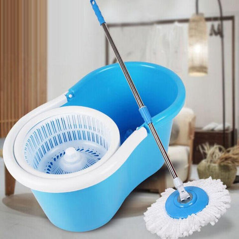 Staulino Spin Mop 360° With Bucket Microfiber Heads Kitchen Bathroom Floor Blue MopSy™ Spin Mop 360° with Bucket + 2 Microfiber Heads