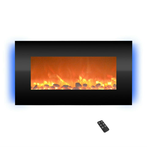 "Staulino Wall Mounted Electric Fireplace 30.5"" LED Backlight With Remote Control Wall Mounted Electric Fireplace 30.5"" LED Backlight With Remote Control"